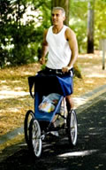 Dad running with stroller